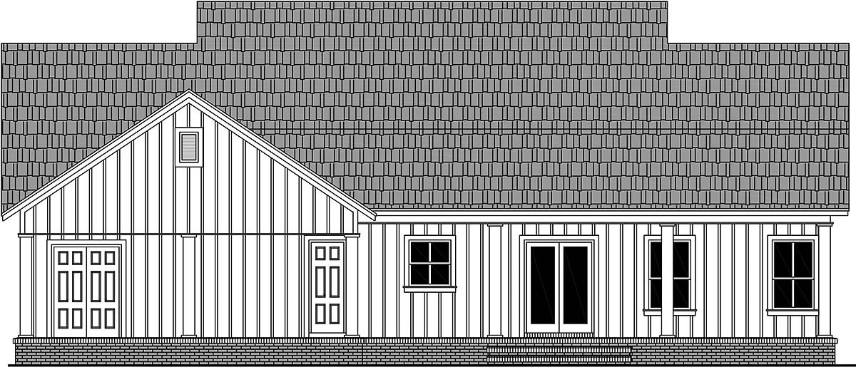 Country, Farmhouse, Ranch House Plan 60106 with 3 Beds, 2 Baths, 2 Car Garage Rear Elevation