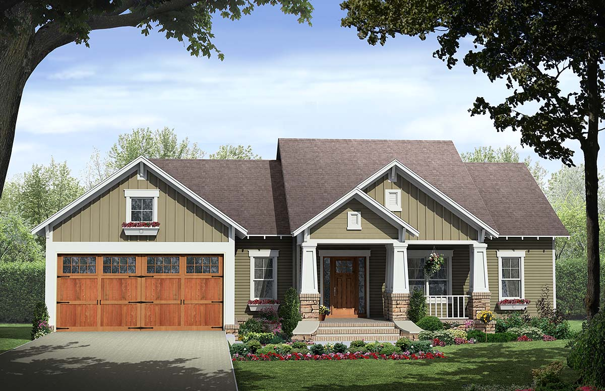 Cottage, Country, Craftsman House Plan 60107 with 3 Beds, 2 Baths, 2 Car Garage Elevation
