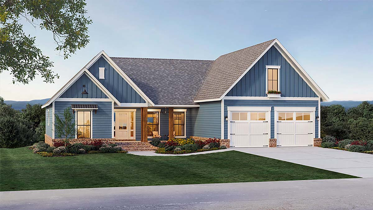 Country, Farmhouse, Ranch, Traditional House Plan 60110 with 4 Beds, 3 Baths, 2 Car Garage Elevation