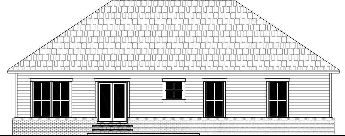 Country Farmhouse Ranch Traditional Rear Elevation of Plan 60111