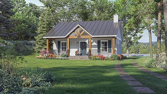 Cottage, Country, Farmhouse, Ranch House Plan 60112 with 1 Beds, 2 Baths Elevation
