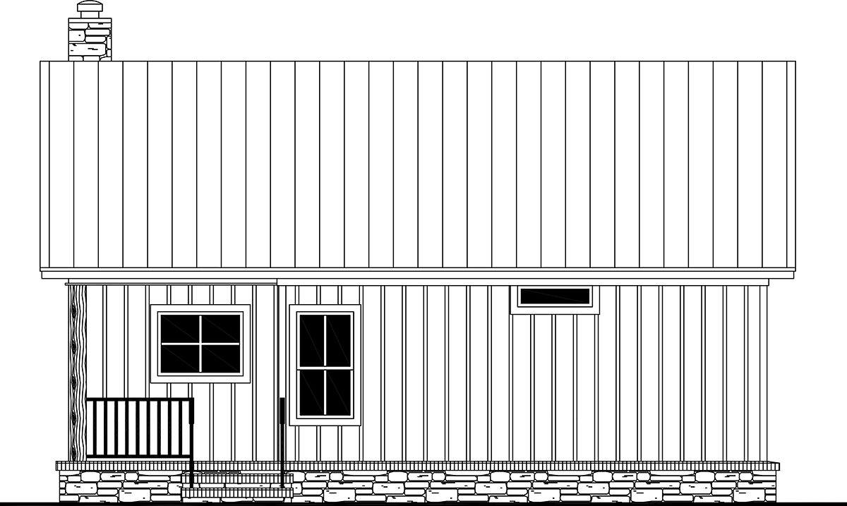 Cottage, Country, Farmhouse, Ranch House Plan 60112 with 1 Beds, 2 Baths Rear Elevation