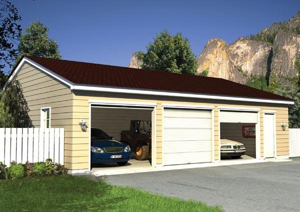 Ranch, Traditional 3 Car Garage Plan 6012 Elevation