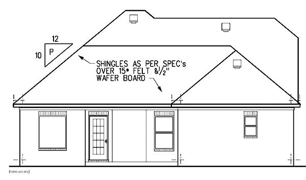 European House Plan 60224 with 3 Beds, 3 Baths, 2 Car Garage Rear Elevation