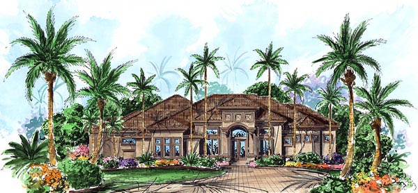 Elevation of Florida   Luxury   Mediterranean   House Plan 60410