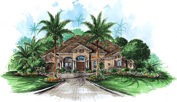 Florida, Mediterranean House Plan 60447 with 4 Beds, 4 Baths, 3 Car Garage Elevation