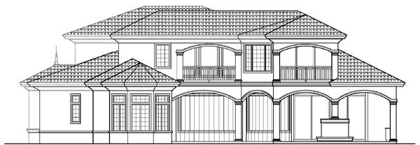 Florida Mediterranean House Plan 60472 Rear Elevation