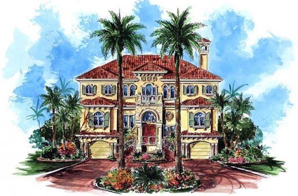 Florida, Mediterranean House Plan 60490 with 3 Beds, 3 Baths, 4 Car Garage Elevation