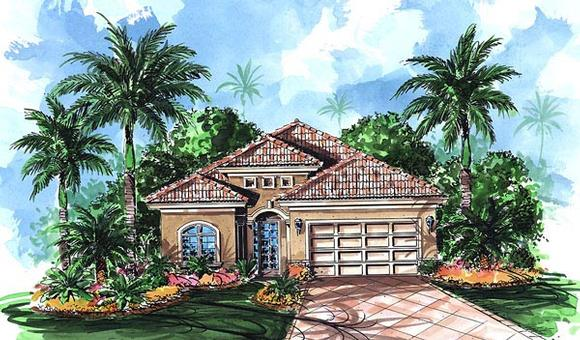 Florida, Mediterranean House Plan 60502 with 4 Beds, 3 Baths, 2 Car Garage Elevation
