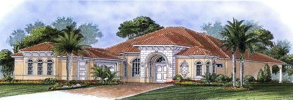 Florida, Mediterranean House Plan 60518 with 3 Beds, 4 Baths, 3 Car Garage Elevation