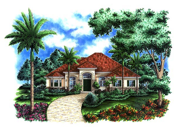 Elevation of Florida   Mediterranean   House Plan 60519