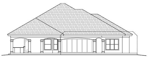 Rear Elevation of Florida   Mediterranean   House Plan 60519