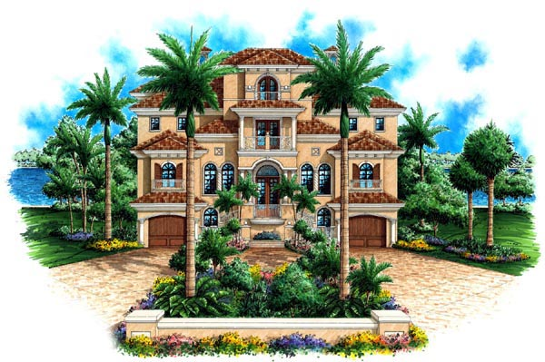 Coastal Florida Mediterranean House Plan 60563 Elevation