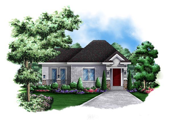 Cottage, Craftsman House Plan 60564 with 1 Beds, 1 Baths Elevation
