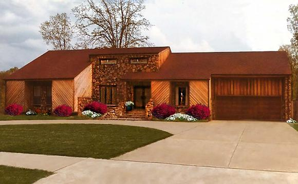 Contemporary, Retro House Plan 60663 with 3 Beds, 2 Baths, 2 Car Garage Elevation