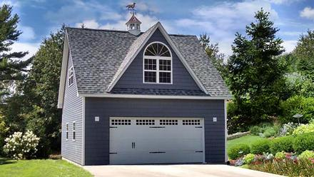 Cottage, Country, Traditional 2 Car Garage Apartment Plan 60687
