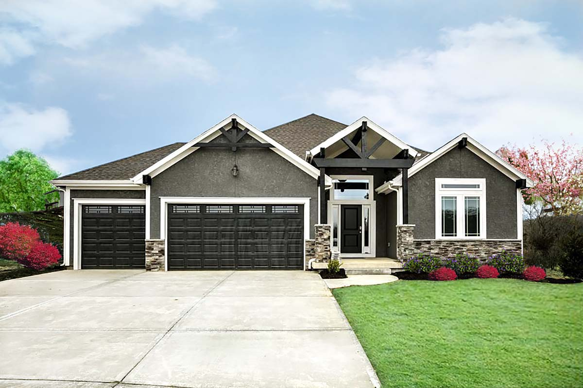 Craftsman, Traditional House Plan 60694 with 4 Beds, 3 Baths, 3 Car Garage Elevation