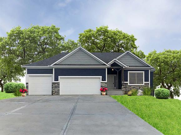 Craftsman, Traditional House Plan 60696 with 3 Beds, 2 Baths, 3 Car Garage Elevation