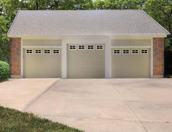 Traditional 3 Car Garage Plan 60697 Elevation