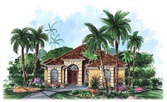 Mediterranean House Plan 60706 with 3 Beds, 3 Baths, 2 Car Garage Elevation