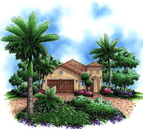 Mediterranean House Plan 60755 with 3 Beds, 2 Baths, 2 Car Garage Elevation