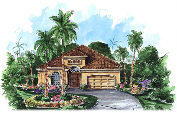 Mediterranean House Plan 60760 with 3 Beds, 3 Baths, 2 Car Garage Elevation
