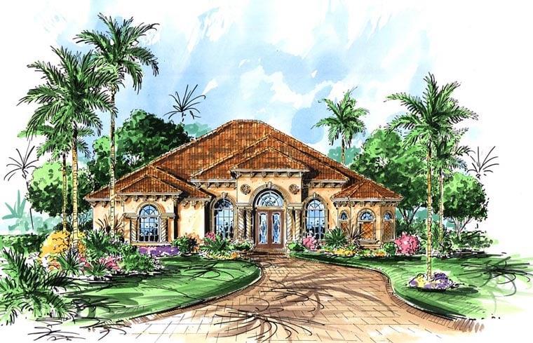 Florida, Mediterranean House Plan 60799 with 3 Beds, 3 Baths, 3 Car Garage Elevation