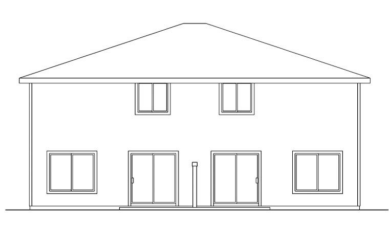 Contemporary Country Florida Saltbox Multi-Family Plan 60907 Rear Elevation