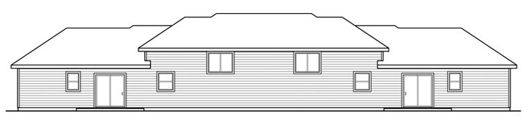 Bungalow Contemporary Cottage Country Craftsman Multi-Family Plan 60910 Rear Elevation