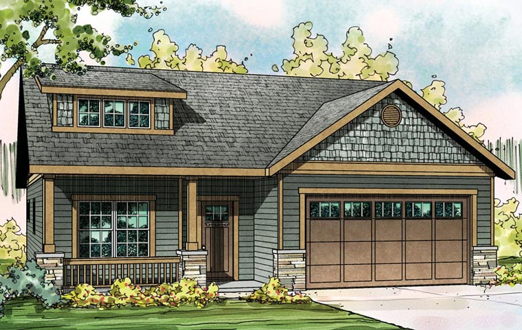house plan 60922 at familyhomeplanscom - Craftsman Ranch Home Exterior