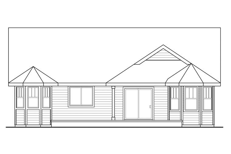 Cottage Country Ranch Traditional House Plan 60931 Rear Elevation