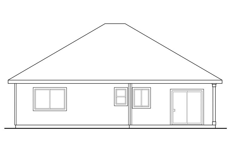 Contemporary Country Ranch Traditional House Plan 60935 Rear Elevation