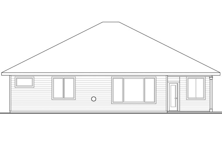 Country Craftsman Prairie Style Ranch Traditional House Plan 60941 Rear Elevation