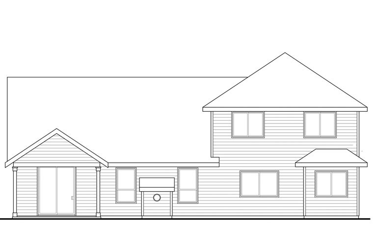 Cape Cod Cottage Country Craftsman House Plan 60942 Rear Elevation