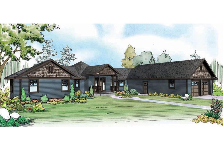 Contemporary Country Craftsman Ranch House Plan 60948 Elevation