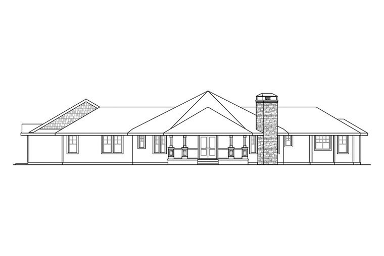 Contemporary Country Craftsman Ranch House Plan 60948 Rear Elevation