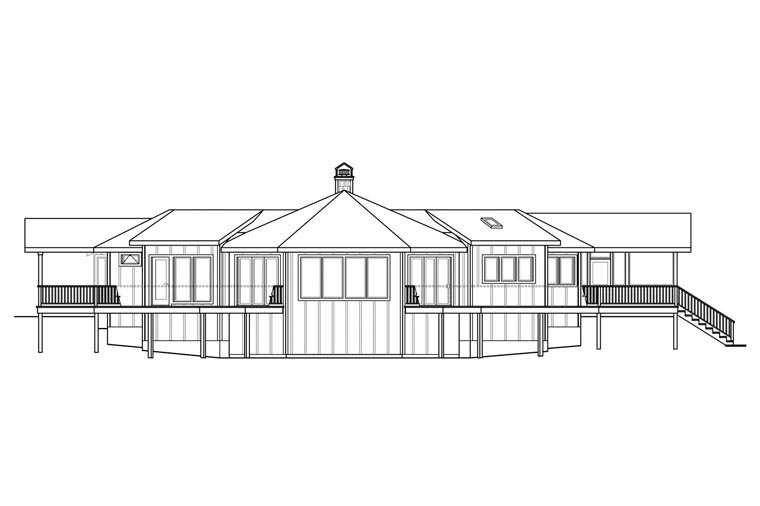 Cape Cod Contemporary Prairie Style Ranch House Plan 60949 Rear Elevation