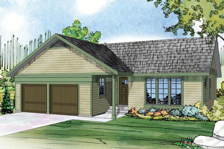 Contemporary Country Prairie Style Ranch House Plan 60950 Elevation