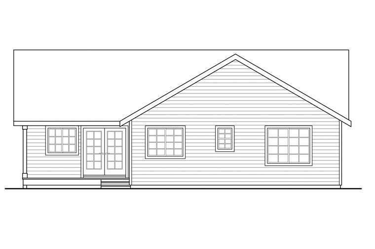 Contemporary Country Prairie Style Ranch House Plan 60950 Rear Elevation