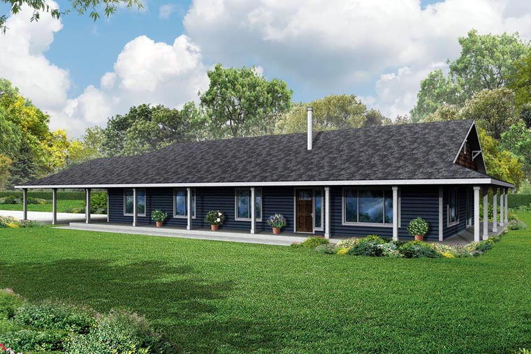 Country Florida Prairie Style Ranch House Plan 60952 Elevation