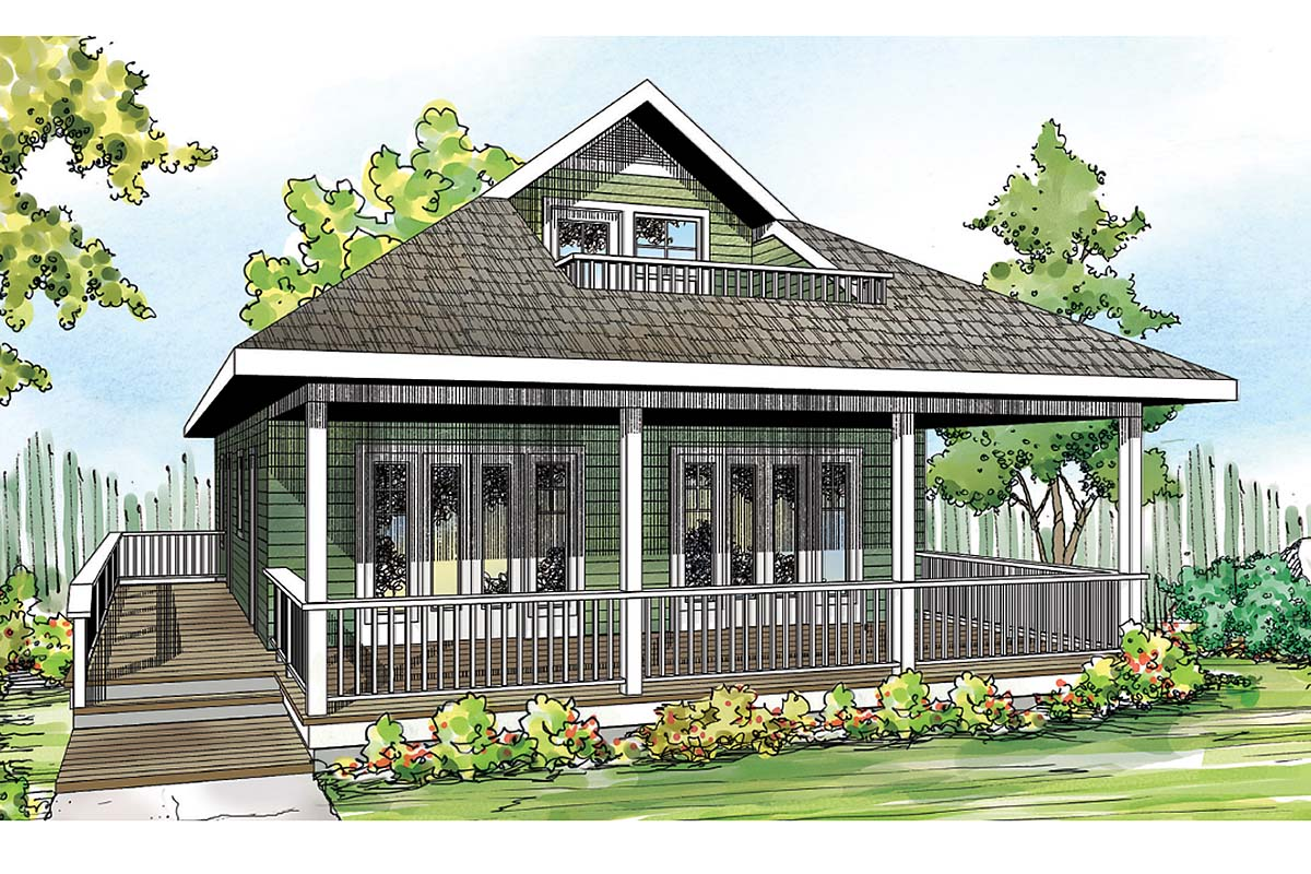 Craftsman Style House Plan 60953 with 2 Bed, 2 Bath