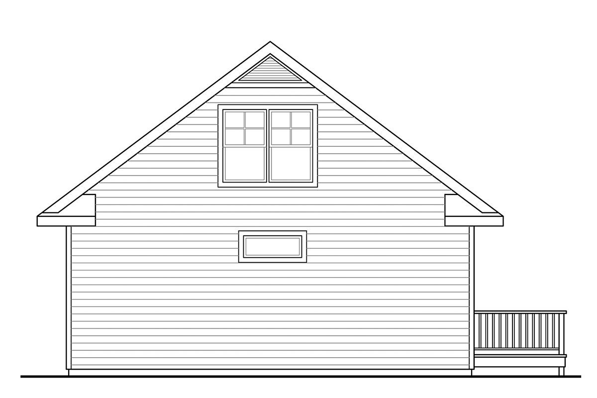 Cape Cod, Contemporary, Cottage, Country, Craftsman House Plan 60953 with 2 Beds, 2 Baths Rear Elevation