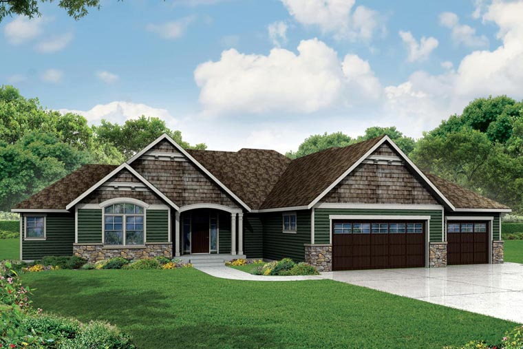 Craftsman Ranch Traditional House Plan 60954 Elevation