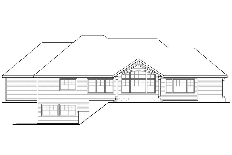 Craftsman, Ranch, Traditional House Plan 60954 with 3 Beds, 4 Baths, 3 Car Garage Rear Elevation