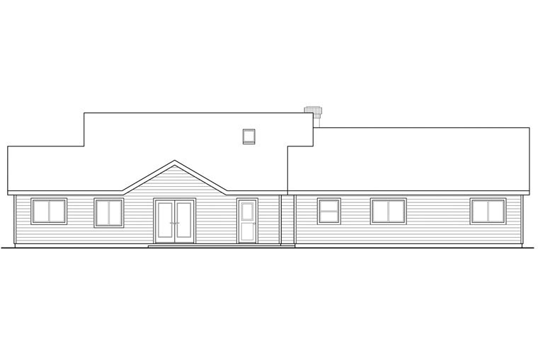 Cottage, Country, European, Traditional House Plan 60959 with 5 Beds, 3 Baths, 2 Car Garage Rear Elevation