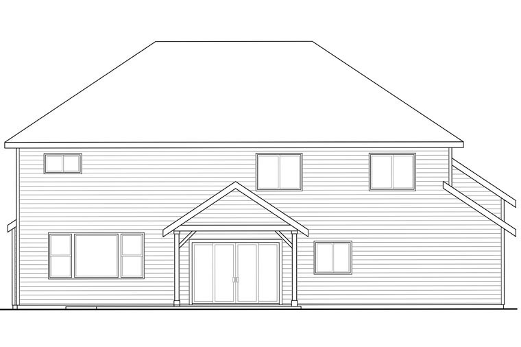 Country, Craftsman, Traditional House Plan 60964 with 3 Beds, 3 Baths, 3 Car Garage Rear Elevation