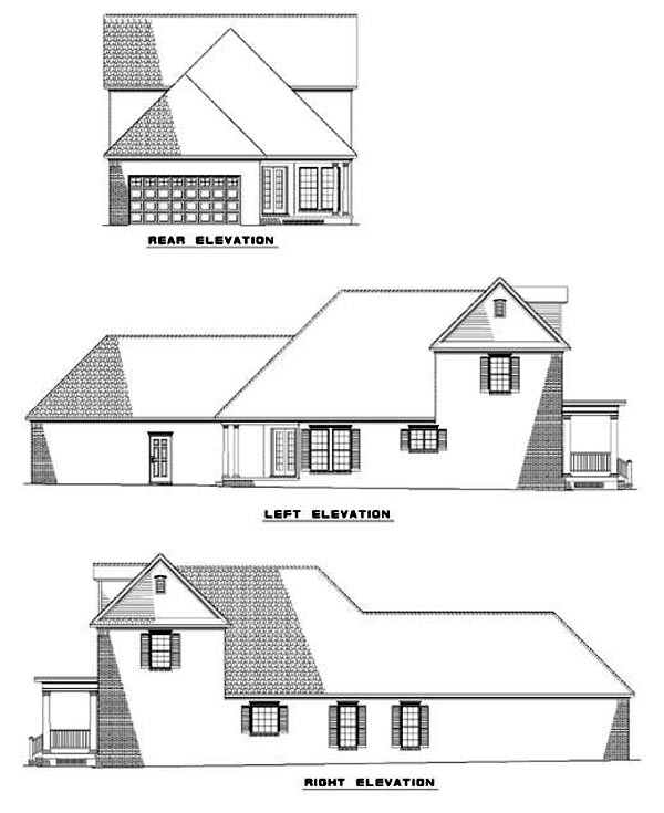 Colonial House Plan 61000 Rear Elevation
