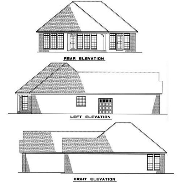 European House Plan 61008 Rear Elevation