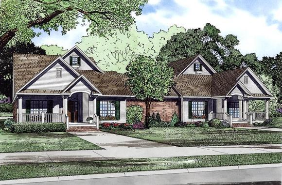 Bungalow, European, Traditional Multi-Family Plan 61018 with 6 Beds, 6 Baths, 4 Car Garage Elevation
