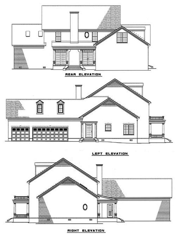 Colonial Plantation Southern House Plan 61022 Rear Elevation
